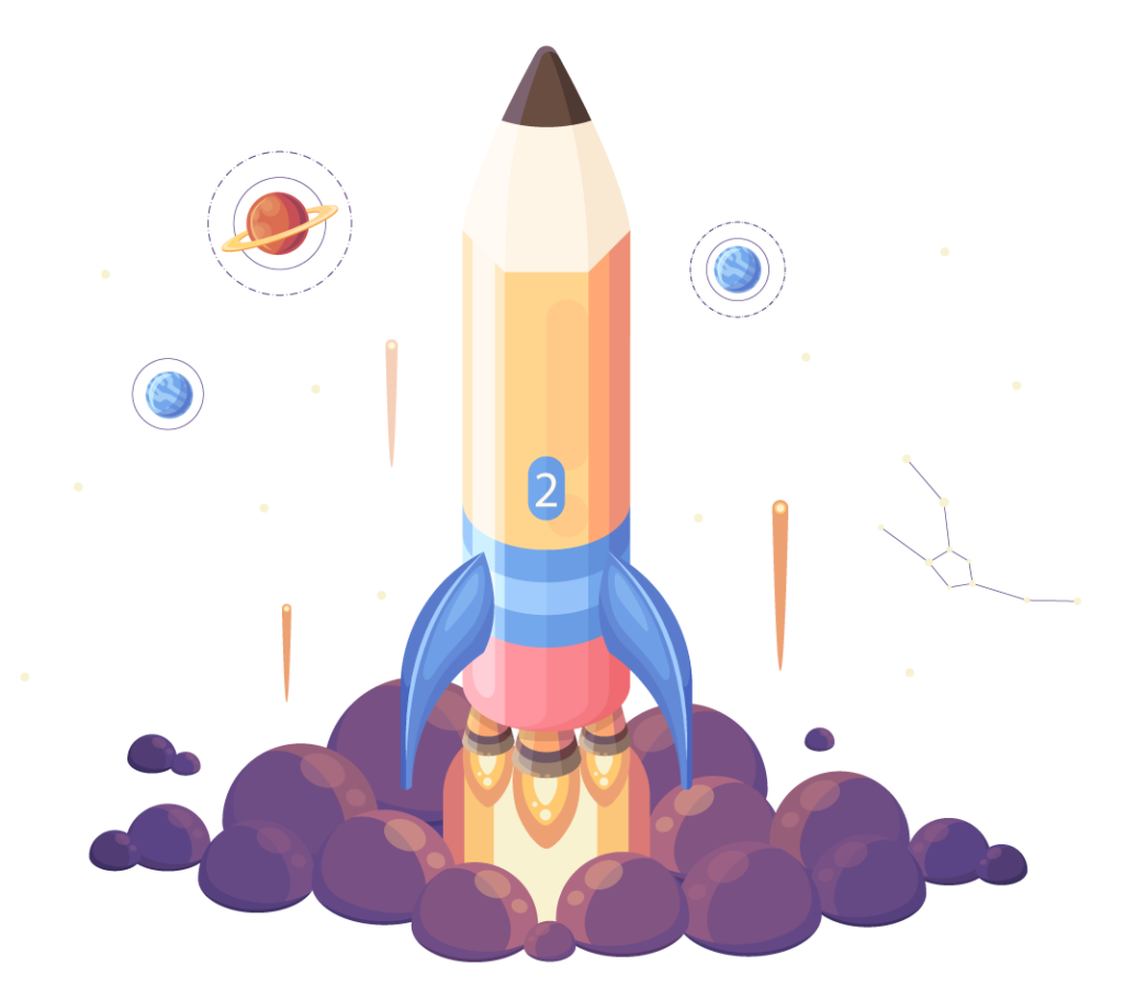 spaceship pencil icon personalized tutoring