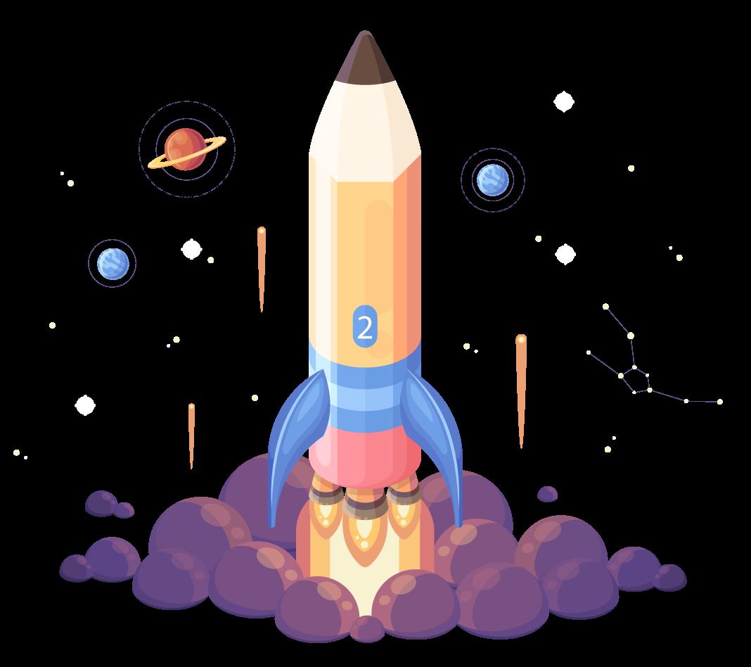 spaceship pencil icon personalized tutoring
