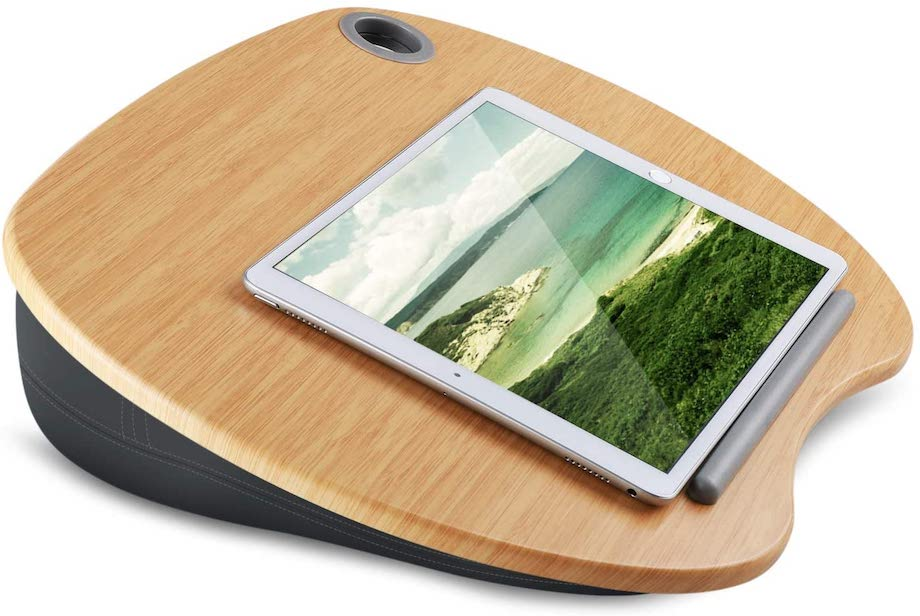 HUANUO Lap Desk - Fits up to 14 inch Slim Laptop, Laptop Stand with Pillow Cushion & Bamboo Platform on Bed & Sofa, with Cable Hole & Anti-Slip Strip
